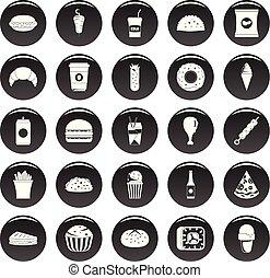 hustě food, ikona, dát, vetor, čerň