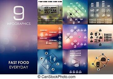 hustě food, infographic, s, neostrý, grafické pozadí