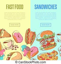hustě food, letec, s, takeaway, menu
