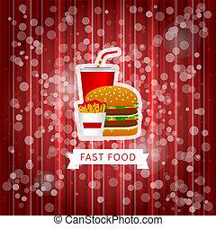 hustě food, plakát, s, červeň, abstraktní, grafické pozadí