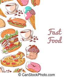 hustě food, plakát, s, přichystaný, lehká jídla