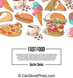 hustě food, plakát, s, takeaway, menu