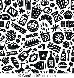 hustě food, -, seamless, grafické pozadí