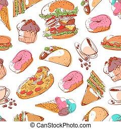hustě food, seamless, model, s, ulice, lehká jídla