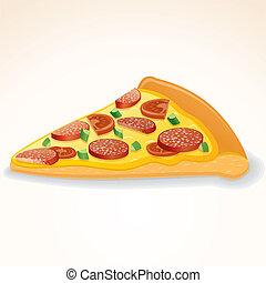 hustě food, vektor, icon., krajíc, o, pepperoni pizza