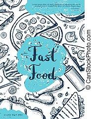 hustě food, vinobraní, rukopis, nahý, grafické pozadí
