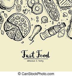 hustě food, za, inzerce, grafické pozadí