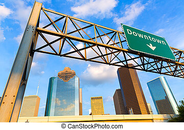 Huston skyline downtown from west Texas US - Huston skyline ...