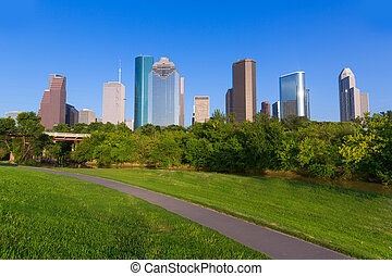 Huston skyline from Eleanor Tinsley park Texas US USA