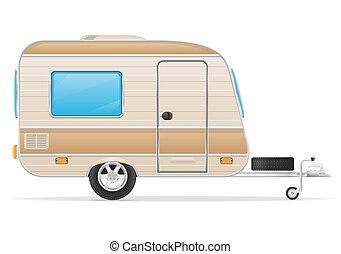 husvagn, illustration, släpvagn, vektor