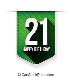 huszonegy, születésnap, év, szalag, boldog