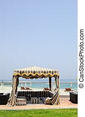 Hut at hotel recreation area, Fujeirah, United Arab Emirates