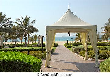 Hut at recreation area of luxury hotel, Dubai, UAE