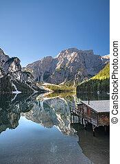 Hut at the italian lake Braies