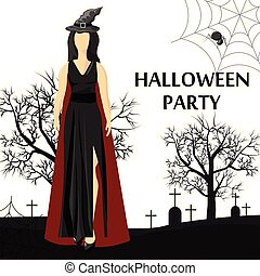 hut, banner, tragen, standort, hexe, party, frau, halloween