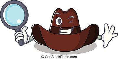 hut, cowboy, zeichen, detektiv, karikatur, heiter
