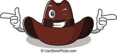 hut, cowboy, zeichen, zwinkern, karikatur, heiter