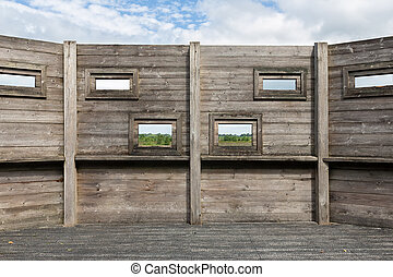 Hut for bird watching in Dutch national park