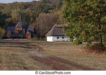 hut., hölzern, dorf, herbstlich, scenery., kirche