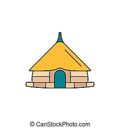 Hut icon, cartoon style