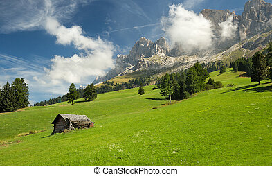 hut in alpine meadow and dolomites in the background