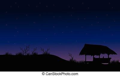 Hut in field scenery