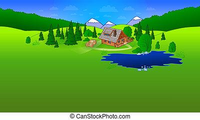 Hut in Forrest Scene