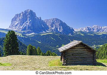 Hut in mountain landscape