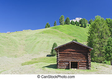 hut in summer mountain landscape. Italy Dolomites