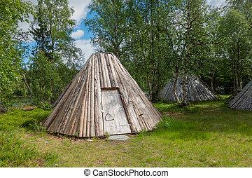 Goahti  or hut in Swedish lapland