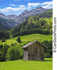 hut in the mountains - wooden hut surrounded by beautiful...