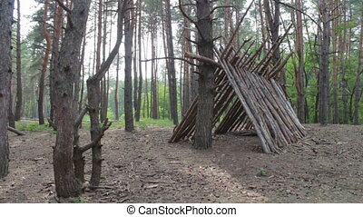 Hut of logs in the pine forest.