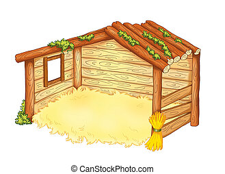 hut of the manger - colored illustration of the hut of the...