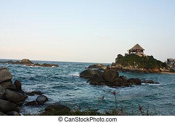 Hut on a Caribbean beach. Colombia