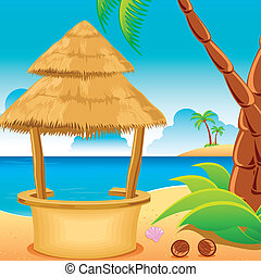 Hut on Beach - illustration of straw hut on lonely beach...