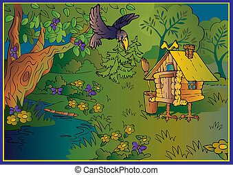 Hut on chicken legs in woods. Fairy-tale. Vector...