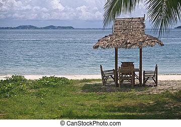 Hut on the beach.