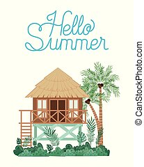 Hut on the beach vector design