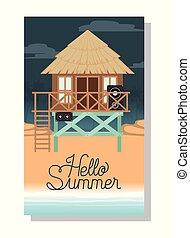 Hut on the beach vector design