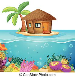 Hut on the island in the middle of the ocean illustration