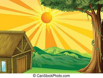 hut, ondergaande zon , nipa