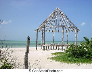hut palapa construction wood structure Holbox - hut palapa...