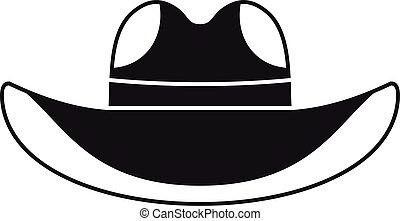 hut, stil, einfache , cowboy, ikone