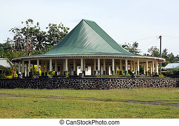 Hut - New big hut on Savaii island, Samoa
