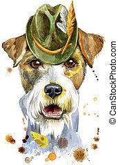hut, terrier, porträt, tiroler, airedale, aquarell, hund