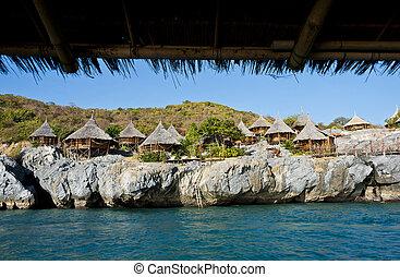 hut village on the cliff