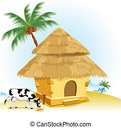 Hut with Cow - illustration of straw hut with coconut tree ...