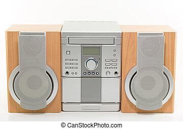 hutný, něco velmí malého, systém, přehrávač kompaktních desek, rádio