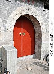 Door in the Beijing Hutongs in China