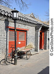 Hutong View - Bicycle in the Beijing Hutongs in China